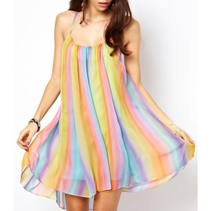 Stylish Spaghetti Strap Backless Colorful Chiffon Dress For Women