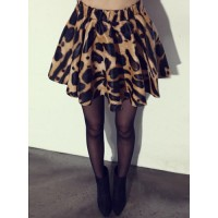 Stylish Women's High-Waisted PU Leather Leopard Print Skirt