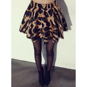Stylish Women's High-Waisted PU Leather Leopard Print Skirt