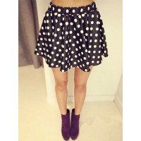 Stylish Women's High-Waisted PU Leather Polka Dot Skirt