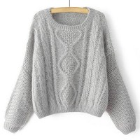 Stylish Women's Jewel Neck Cable-Knit Long Sleeve Sweater gray khaki