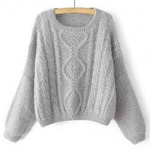 Stylish Women's Jewel Neck Cable-Knit Long Sleeve Sweater gray khaki
