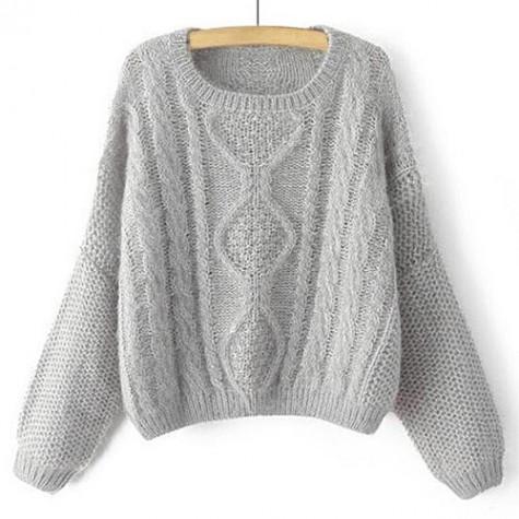 Stylish Womens Jewel Neck Cable Knit Long Sleeve Sweater Gray Khaki