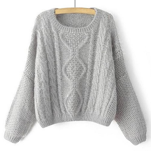 Stylish Women s Jewel Neck Cable-Knit Long Sleeve Sweater gray ...