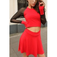 Stylish Women's Jewel Neck Hollow Out Mesh Splicing Dress red black