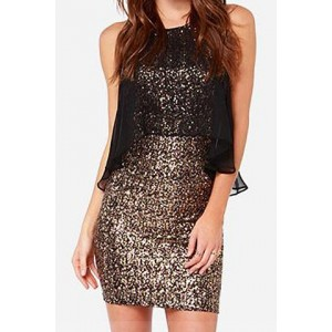 Stylish Women's Jewel Neck Sequined Bodycon Dress golden