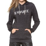 Stylish Women's Letter Print Long Sleeve Hoodie gray