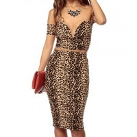 Stylish Women's Plunging Neckline Leopard Print Suit yellow