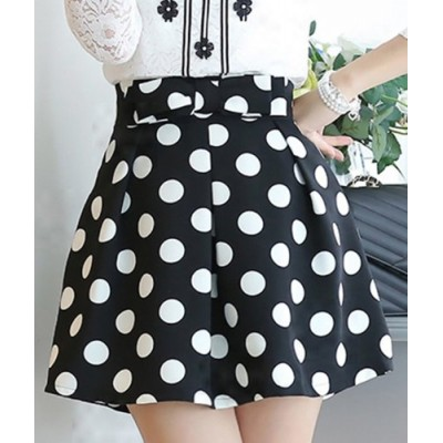 Stylish Women's Polka Dot Bowknot Skirt