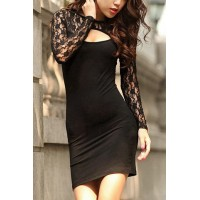 Stylish Women's Round Neck Lace Splicing Hollow Out Dress black white