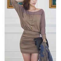 Stylish Women's Scoop Neck 3/4 Sleeve Chiffon Splicing Bodycon Dress khaki black