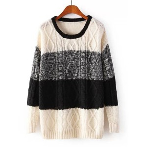 Stylish Women's Scoop Neck Color Block Cable-Knit Sweater