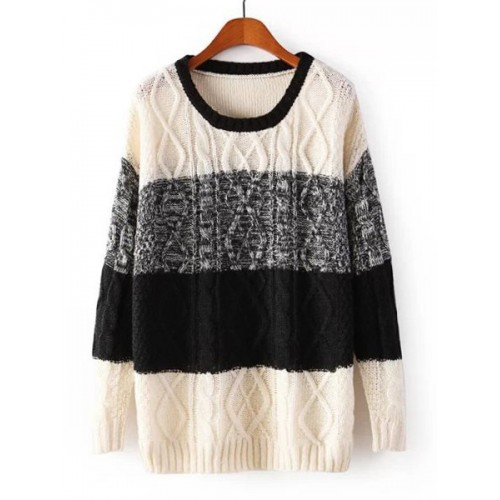 Stylish Women s Scoop Neck Color Block Cable-Knit Sweater (Stylish ...
