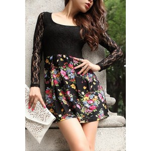 Stylish Women's Scoop Neck Lace Splicing Floral Print Dress black white