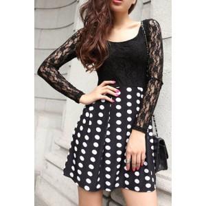 Stylish Women's Scoop Neck Lace Splicing Polka Dot Dress black