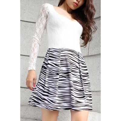 Stylish Women's Scoop Neck Lace Splicing Zebra Print Dress white