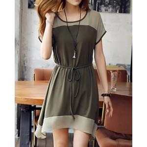 Stylish Women's Scoop Neck Short Sleeve Color Splicing Dress green