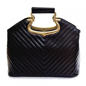 Stylish Women's Shoulder Bag With Stitching and Metallic Design black white