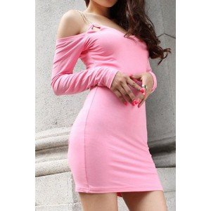 Stylish Women's Spaghetti Strap Long Sleeve Solid Color Dress pink black white