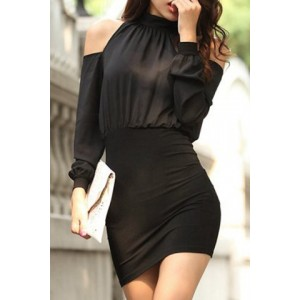 Stylish Women's Stand Collar Hollow Out Long Sleeve Dress black white yellow green