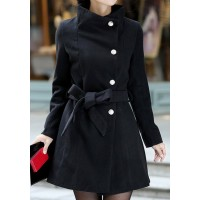 Stylish Women's Stand Collar Long Sleeve Solid Color Coat black grey red
