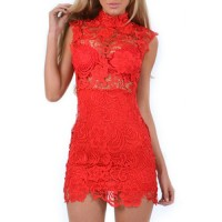 Stylish Women's Stand Collar Sleeveless Bodycon Lace Dress red white black