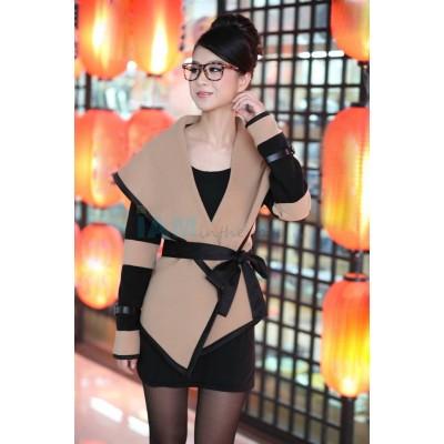 Stylish Women's Turn-Down Collar Color Block Long Sleeve Coat