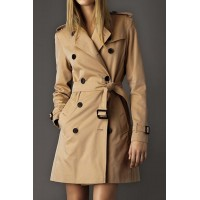 Stylish Women's Turn-Down Collar Long Sleeve Trench Coat khaki red black