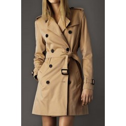 Stylish Women's Turn-Down Collar Long Sleeve Trench Coat khaki red black