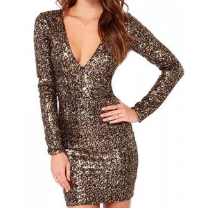 Stylish Women's V-Neck Long Sleeve Sequined Bodycon Dress