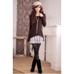 Sweet Scoop Neck Lace Splicing Long Sleeve Dress With T-Shirt For Women coffee black pink
