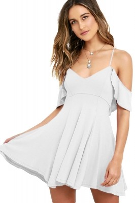 Sweet Sexy White Backless Skater Dress Black Blue Purple White Red Pink