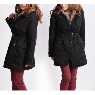Thickened Faux Fur Lined Waistband Beam Waist Pockets Korean Style Cotton Solid Color Coat For Women black beige