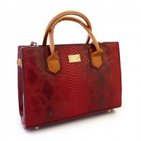 Trendy Women's Shoulder Bag With PU Leather and Snake Print Design red black gray