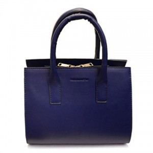Trendy Women's Tote Bag With Solid Color and Zip Design blue black white red