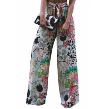 Tropical Green Print Palazzo Pants Pink Black Orange Blue White