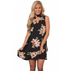 V Cut out Blooming Floral Print Black Background Dress