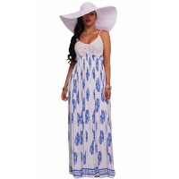 White Blue Print Open Back Maxi Dress