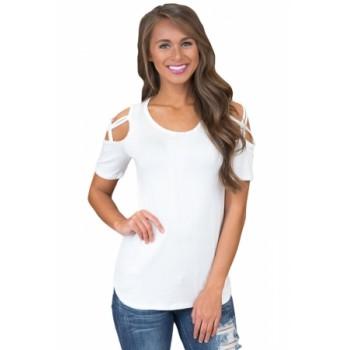 White Crisscross Cold Shoulder Short Sleeve Shirt Blue Gray