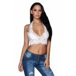 White Hollow Out Lace Halter Bralette