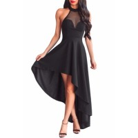 White Sheer Mesh Decolletage Hi-low Party Dress Black Red