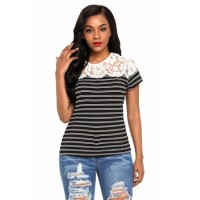 White Striped Cap Sleeve Top with Lace Detail Black