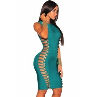 Wine Bandage Gold Button Cut Out Sides Dress Green Black
