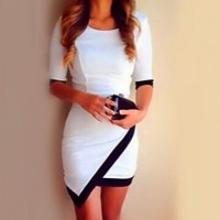 Women's Contrast Color Asym Bodycon Dress white