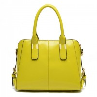 Work Style Women's Shoulder Bag With PU Leather and Solid Color Design yellow red orange