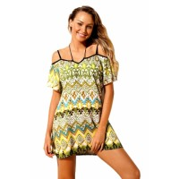 Yellow Bohemian Pattern Flutter Sleeves Beach Tunic Rose