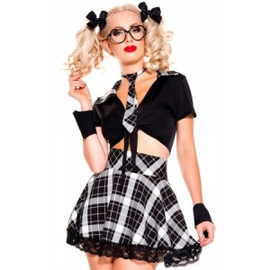 5 Pieces Yellow Plaid Detention Hottie Costume Black