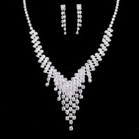 A Suit of Alloy Rhinestoned Tassel Necklace and Earrings