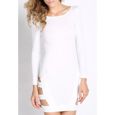 Alluring Scoop Neck Long Sleeve Solid Color Hollow Out Dress For Women white