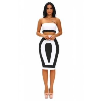Bandeau Color-block Two Pieces Skirt Set Black White